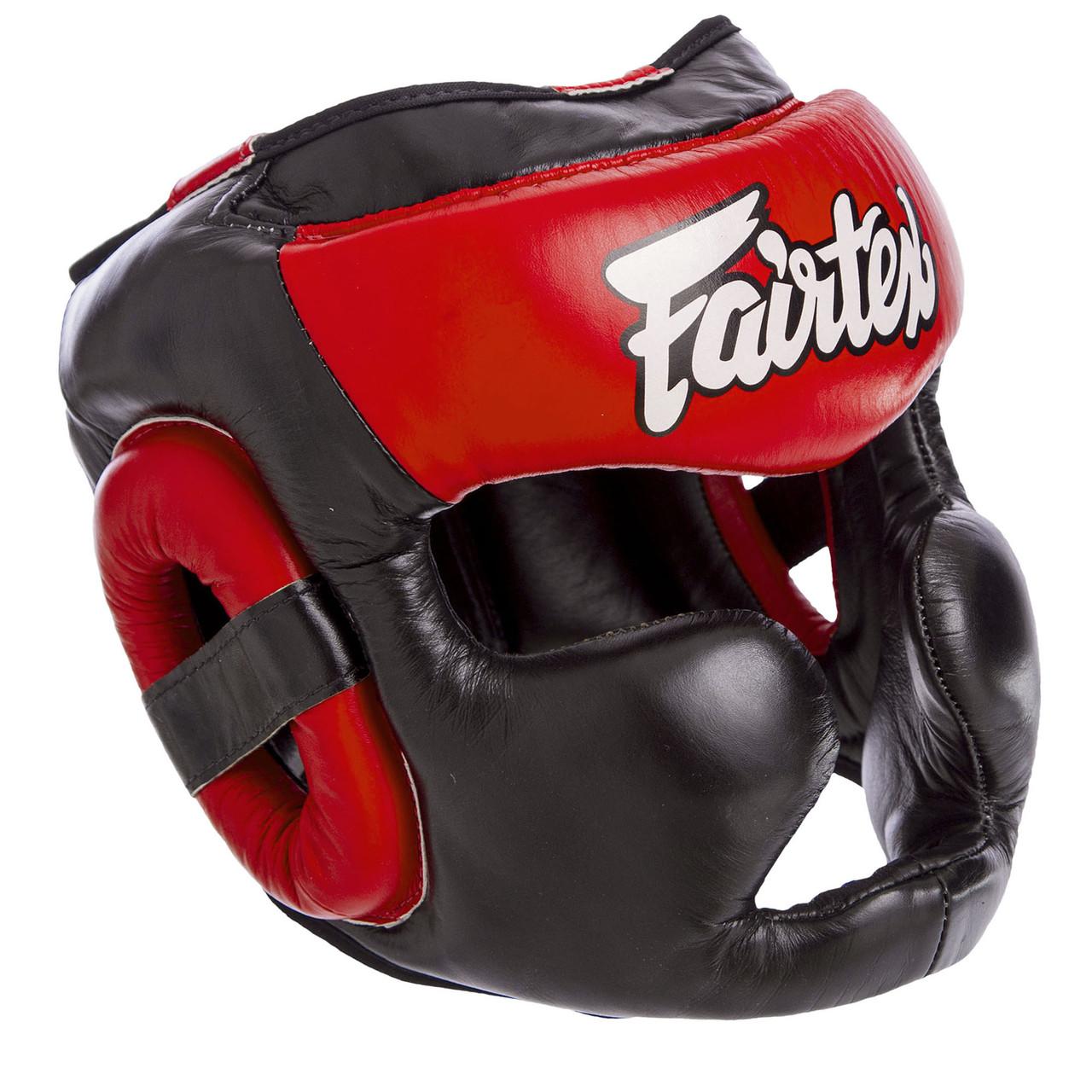 Шлем боксерский кожаный закрытый черно-красный FAIRTEX HG13-LACES