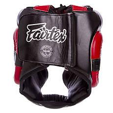 Шлем боксерский кожаный закрытый черно-красный FAIRTEX HG13-LACES, фото 3