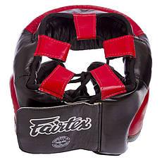 Шлем боксерский кожаный закрытый черно-красный FAIRTEX HG13-LACES, фото 2