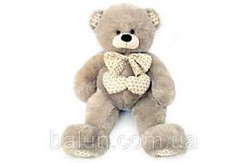 Ведмедик з бантиком   сірий 80см  6395/80