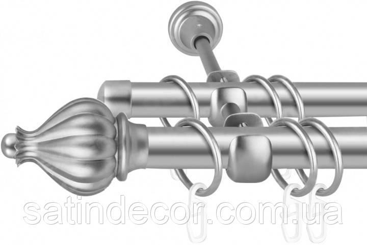 Карниз для штор металевий ТАДЖА подвійний 25+19 мм 2.4 м Сатин нікель