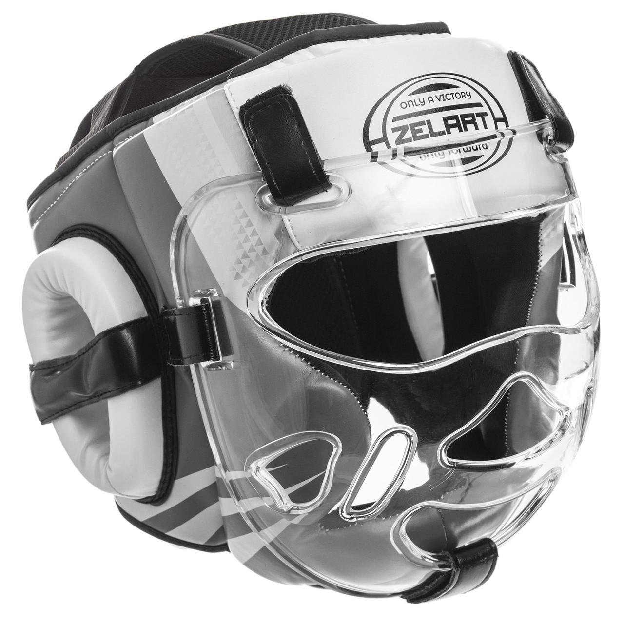 Боксерский шлем закрытый с прозрачной маской белый PU ZELART BO-1360
