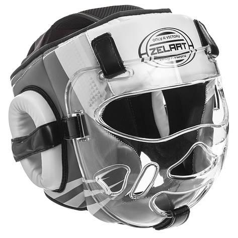 Боксерский шлем закрытый с прозрачной маской белый PU ZELART BO-1360, фото 2