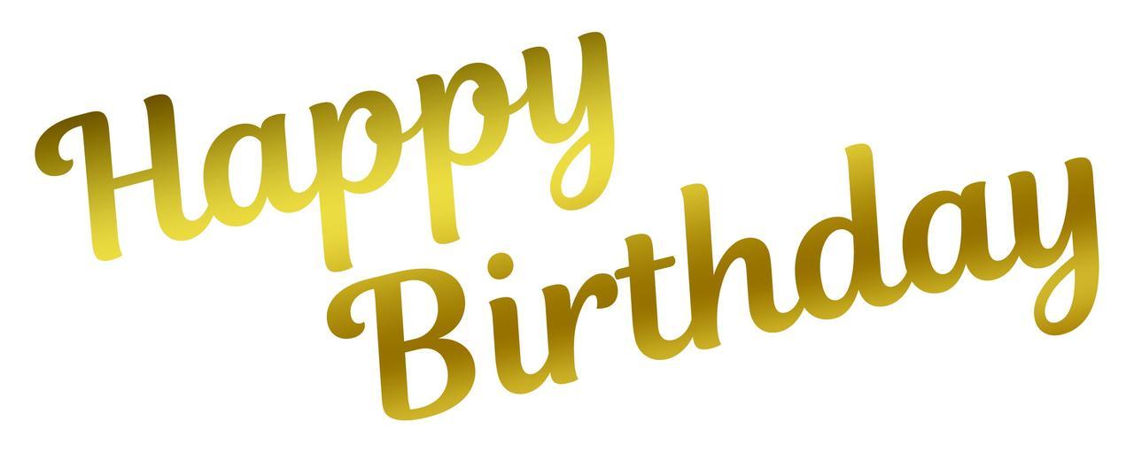 Наклейка Happy Birthday (2) дзеркальне золото