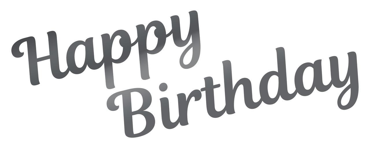 Наклейка Happy Birthday (2) дзеркальне срібло