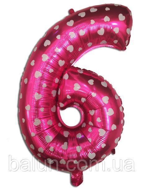 """Цифра рожева з сердечками 65см """"6"""""""