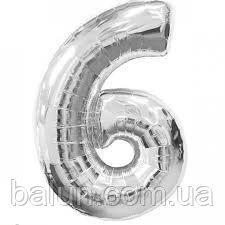 """Цифра срібна (Цифра """"6"""") 26""""(65см)"""