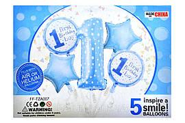 "Набір ""First Birthday boy"" 18""серце 2шт + 18"" коло 2шт + 1шт цифра 1 34х69см"