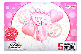 """Набір """"it's a Girl"""" зі стопою 18""""серце 2шт + 18"""" коло 2шт + 1шт стопа 44х76см"""