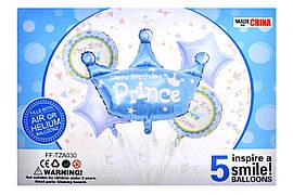 """Набір """"Prince"""" 18"""" серце 2шт + 18"""" коло 2шт + 1шт корона 76х81см"""
