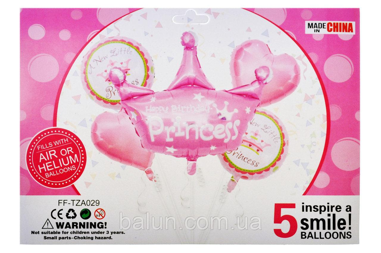"Набір ""Princess"" 18"" серце 2шт + 18"" круг 2шт + 1шт корона 76x81cм"