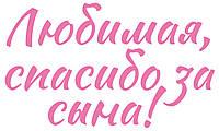 """Наклейка Любымая, дякую за сина! (1) 18"""" рожева"""