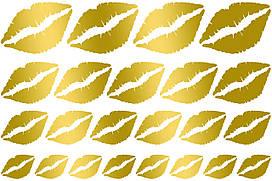 Наклейки Губы (2) дзеркальне золото