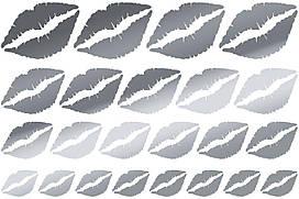 Наклейки Губы (2) дзеркальне срібло