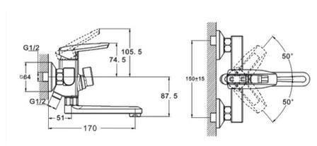 Змішувач для ванної з литим поворотним изливом ZEGOR NOF3-A033, фото 2
