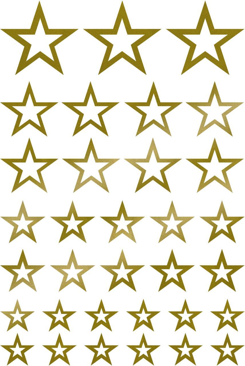 Наклейки Звёзды золотые контурні