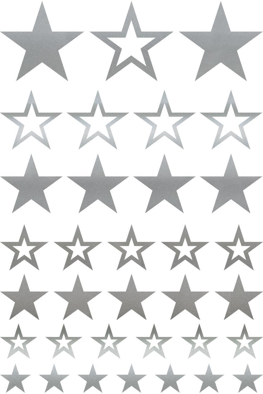 Наклейки Звёзды срібло мікс