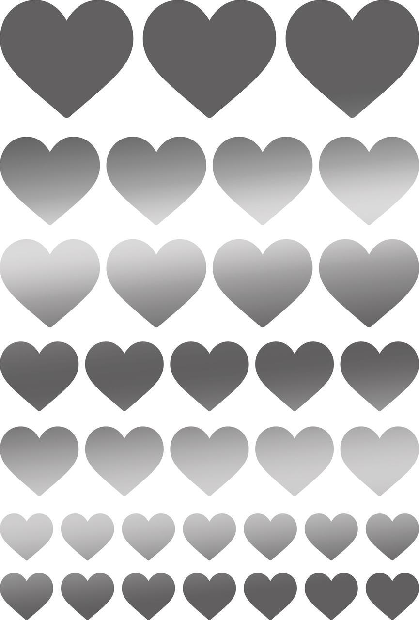 Наклейки Серця срібні