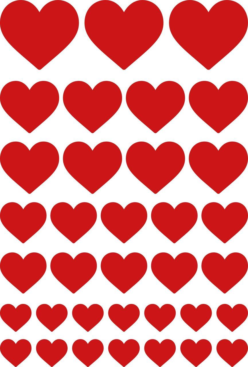 Наклейки Серця червоні