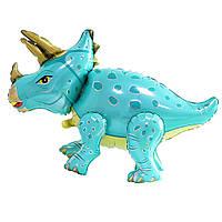 Фігура стоячка динозавр Трицератопс бірюзовий (60см)