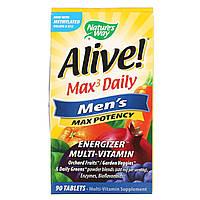 Мультивитамины для мужчин Nature's Way,Alive! Max3 Daily, 90 таблеток, фото 1