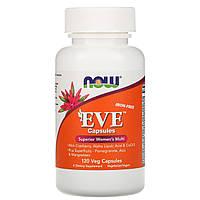Женские мультивитамины Now Foods, Капсулы Eve, без железа, 120 растительных капсул