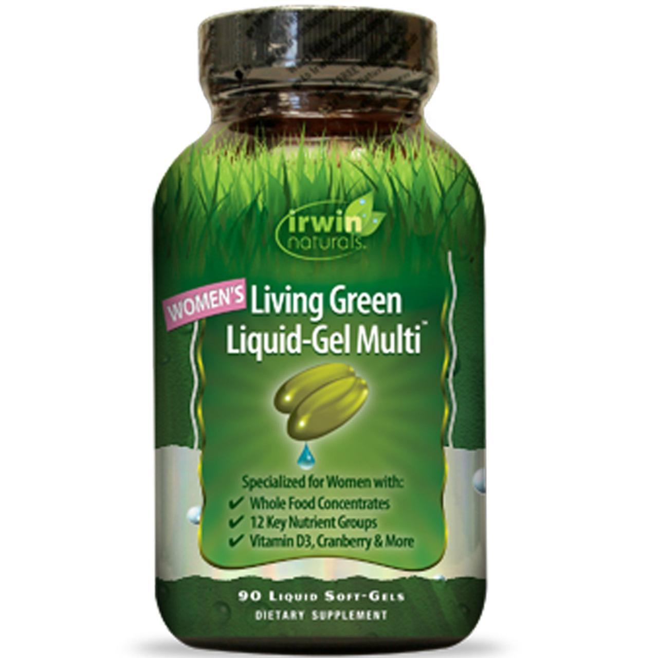 Irwin Naturals, Мультивитамины для женщин «Living Green», 90 гелевых капсул