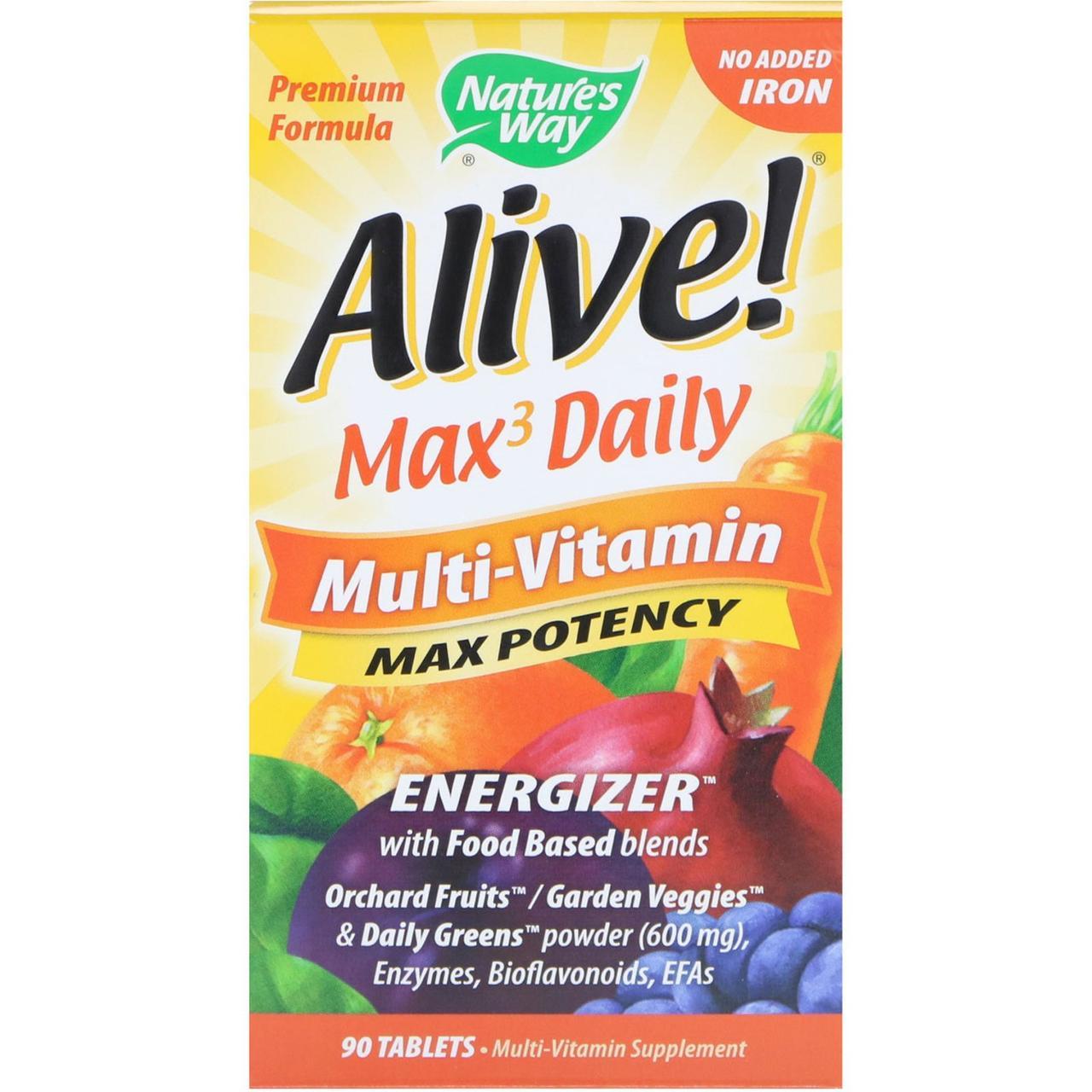 Комплекс виатминов Nature's Way, Alive! Max3 Daily, без железа, 90 табл.