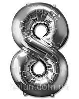 """Цифра слім срібна (""""8"""") 40""""(100см)"""