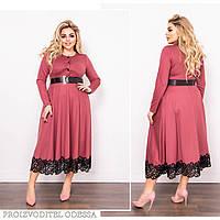 Сукня жіноча великий розмір 287 (48-50, 52-54, 56-58) кольори: фрез, теракот, марсала, пляшка) СП, фото 1