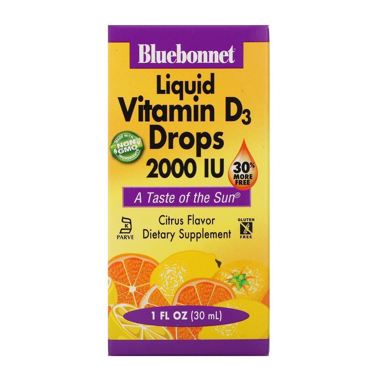 Витамин D3 в каплях для детей Bluebonnet Nutrition, натуральный аромат цитрусовых, 2 000 МЕ, 30 мл