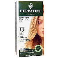Перманентная травяная краска гель для волос Herbatint, 8N, светлый блондин, 135 мл