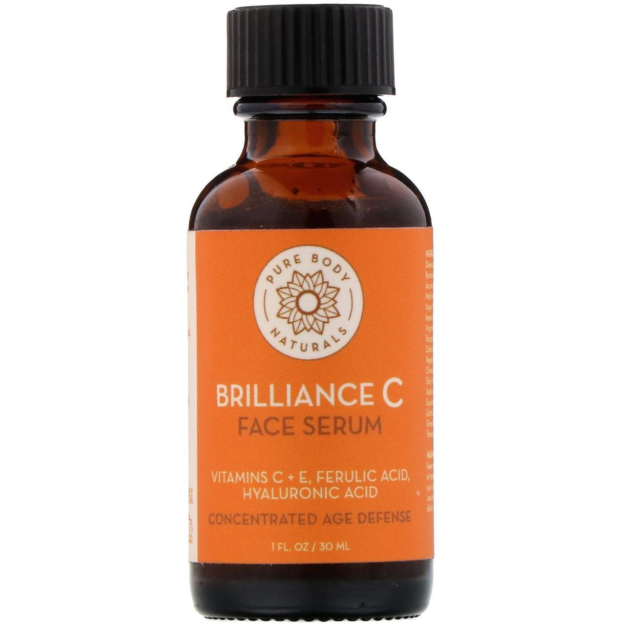 """Сыворотка для кожи лица с витаминами C и E """"Brilliance C"""" от Pure Body Naturals, 30 мл"""