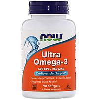 Ультра Омега-3 Now Foods, 500 EPA/250 DHA, 90 мягких капсул