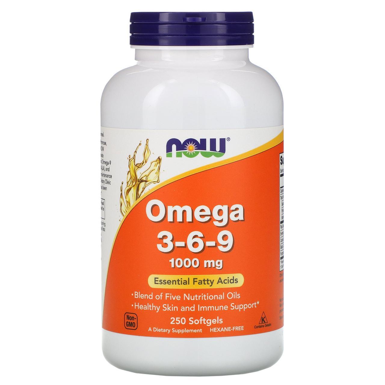 Омега 3-6-9 Now Foods, 1000 мг, 250 мягких таблеток