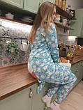 Пижама Попожама голубая женская с мими мишками и карманом на попе, фото 2