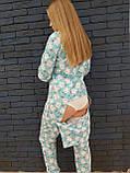 Пижама Попожама голубая женская с мими мишками и карманом на попе, фото 3