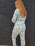 Пижама Попожама голубая женская с мими мишками и карманом на попе, фото 4