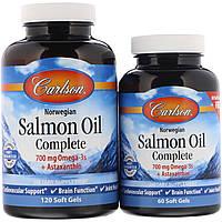 Полноценный норвежский лососевый жир Carlson Labs, 120 мягких таблеток + 60 таблеток бесплатно