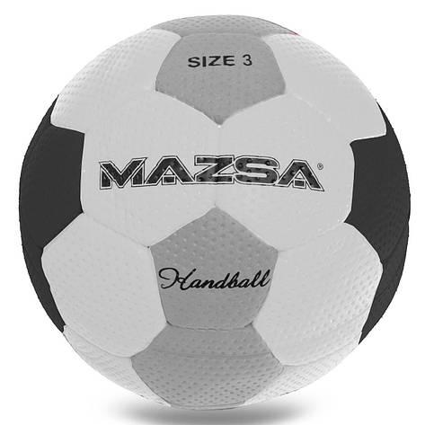 Гандбольний м'яч Outdoor №3 покриття спінена гума MAZSA білий-сірий JMC003-MAZ, фото 2