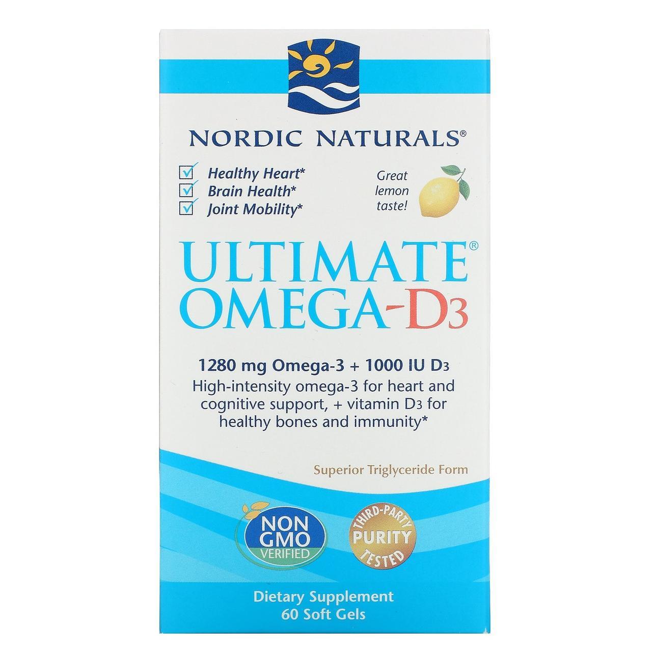 Омега-3 с витамином D3 Ultimate Nordic Naturals, с лимоном, 1280 мг + 1000 IU, 60 гелевых капсул
