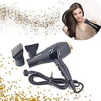 Фен для сушки и укладки волос ПрофессиональныйФеныGEMEI GM-1771 2100 Вт мощный с насадками