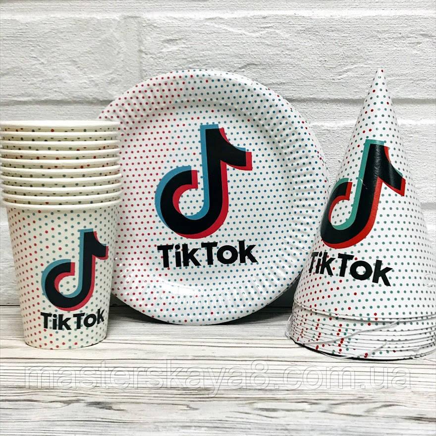 """Набор одноразовой посуды для праздника """"Тik Tok"""" Тарелки -10 шт, Стаканчики - 10 шт, Колпачки - 10 шт"""