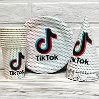 """Набор одноразовой посуды для праздника """"Тik Tok"""" Тарелки -10 шт, Стаканчики - 10 шт, Колпачки - 10 шт, фото 1"""