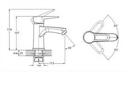 Змішувач для умивальника литий ZEGOR PUD1-A045, однорукий, фото 2