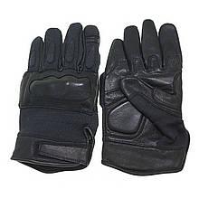 Кожаные тактические перчатки  с кевларовыми вставкам черные  MIL-TEC 12504202
