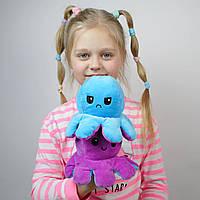 Мягкая игрушка Осьминог-перевертыш двухсторонний Веселый-грустный Цвет Сиренево-голубой, фото 1