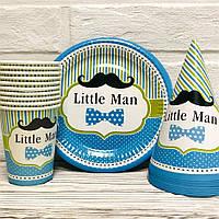 """Набор одноразовой посуды для праздника """"Little man"""" Тарелки -10 шт, Стаканчики - 10 шт, Колпачки - 10 шт, фото 1"""