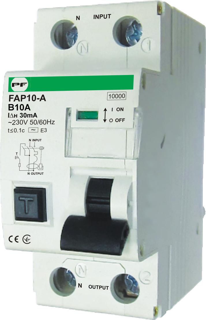 "Автомат захисного відключення FAP10-А 10kА    ""В""  1P+N  IΔn=300mA  In=10А"