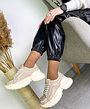 Женские кожаные кроссовки на платформе в разных цветах код 3424, фото 4